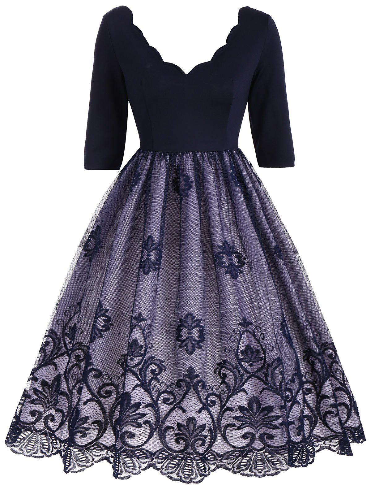 V Neck Floral Lace Panel Vintage DressWOMEN<br><br>Size: XL; Color: DEEP BLUE; Style: Vintage; Material: Cotton,Polyester; Silhouette: A-Line; Dresses Length: Knee-Length; Neckline: V-Neck; Sleeve Length: Half Sleeves; Embellishment: Lace; Pattern Type: Solid; With Belt: No; Season: Fall; Weight: 0.3800kg; Package Contents: 1 x Dress;