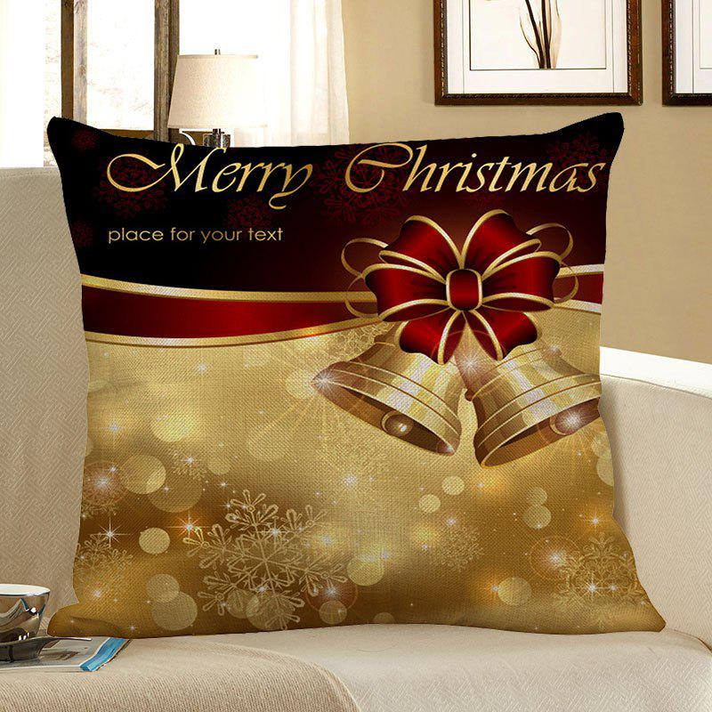 Affordable Christmas Bowknot Bells Printed Linen Pillow Case