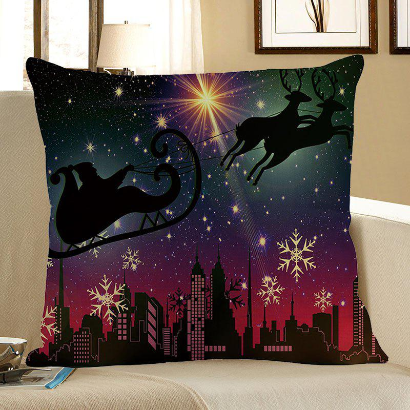 Snow Night Santa Claus Reindeer Cart Throw Pillow CaseHOME<br><br>Size: W18 INCH * L18 INCH; Color: COLORFUL; Material: Linen; Fabric Type: Linen; Pattern: Elk,Santa Claus,Snowflake; Style: Festival; Shape: Square; Size(CM): 45 x 45 (CM); Weight: 0.0800kg; Package Contents: 1 x Pillow Case;