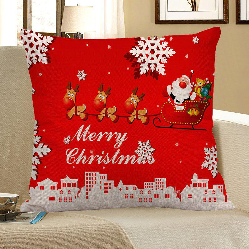 Santa Claus Elk Cart Snowflakes Patterned Pillow CaseHOME<br><br>Size: W18 INCH * L18 INCH; Color: BRIGHT RED; Material: Linen; Fabric Type: Linen; Pattern: Elk,Santa Claus,Snowflake; Style: Festival; Shape: Square; Size(CM): 45 x 45; Weight: 0.0800kg; Package Contents: 1 x Pillow Case;
