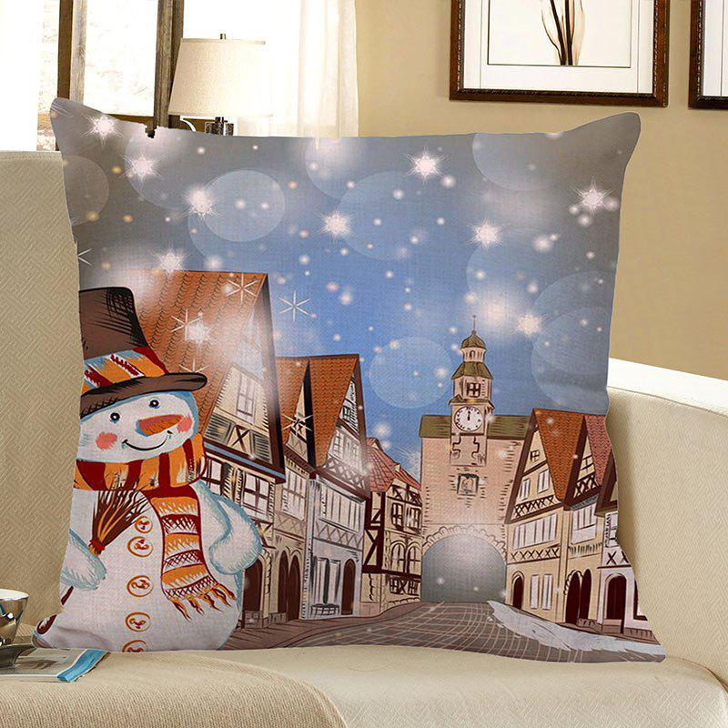 Christmas Snowman Town Printed Pillow CaseHOME<br><br>Size: W18 INCH * L18 INCH; Color: COLORFUL; Material: Linen; Fabric Type: Linen; Pattern: Printed,Snowman; Style: Festival; Shape: Square; Size(CM): 45 x 45 (CM); Weight: 0.0800kg; Package Contents: 1 x Pillow Case;