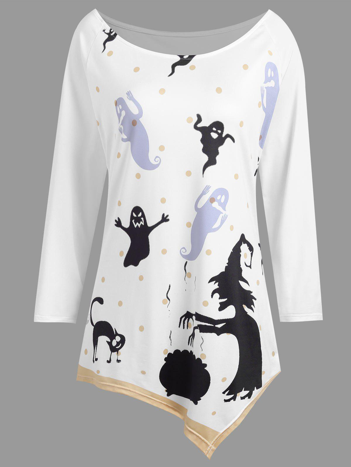 Plus Size Asymmetrical Halloween Cat Witch TeeWOMEN<br><br>Size: 4XL; Color: WHITE; Material: Cotton,Polyester; Shirt Length: Long; Sleeve Length: Full; Collar: Scoop Neck; Style: Fashion; Season: Fall; Sleeve Type: Raglan Sleeve; Pattern Type: Animal,Polka Dot,Print; Weight: 0.2300kg; Package Contents: 1 x T-shirt;