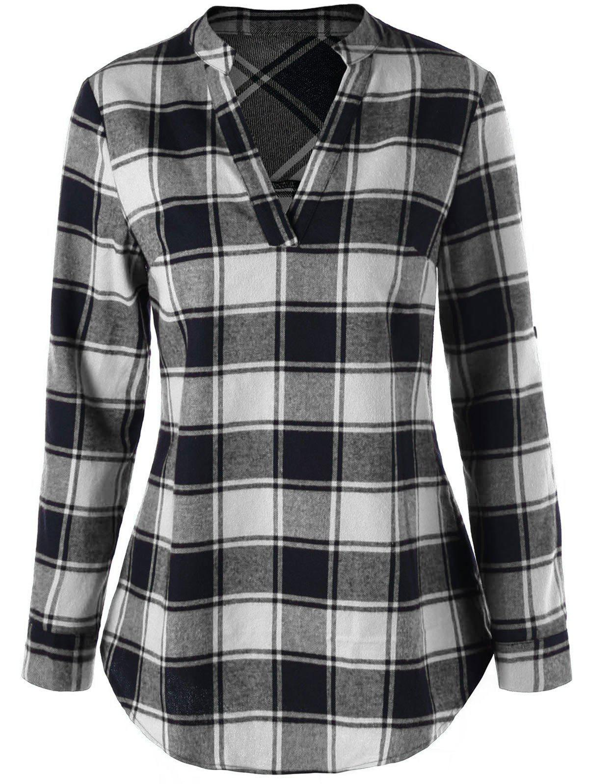 Split Neck Curved Hem Plaid BlouseWOMEN<br><br>Size: 2XL; Color: BLACK + WHITE; Occasion: Casual; Style: Casual; Material: Rayon; Shirt Length: Long; Sleeve Length: Full; Collar: V-Neck; Pattern Type: Plaid; Season: Fall,Spring; Weight: 0.2700kg; Package Contents: 1 x Blouse;