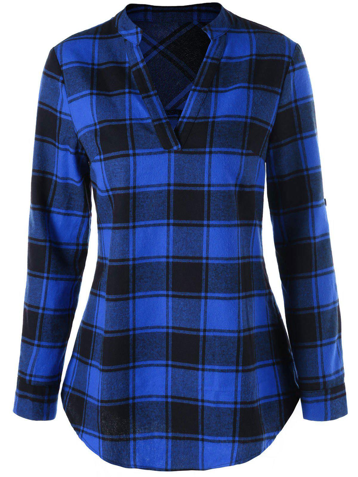 Split Neck Curved Hem Plaid Blouse