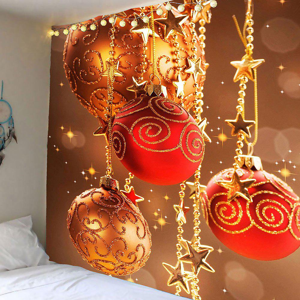 Star Chain and Ball Pattern Wall Art TapestryHOME<br><br>Size: W59 INCH * L51 INCH; Color: COLORFUL; Style: Festival; Theme: Christmas; Material: Polyester; Feature: Removable,Washable; Shape/Pattern: Ball,Star; Weight: 0.2100kg; Package Contents: 1 x Tapestry;