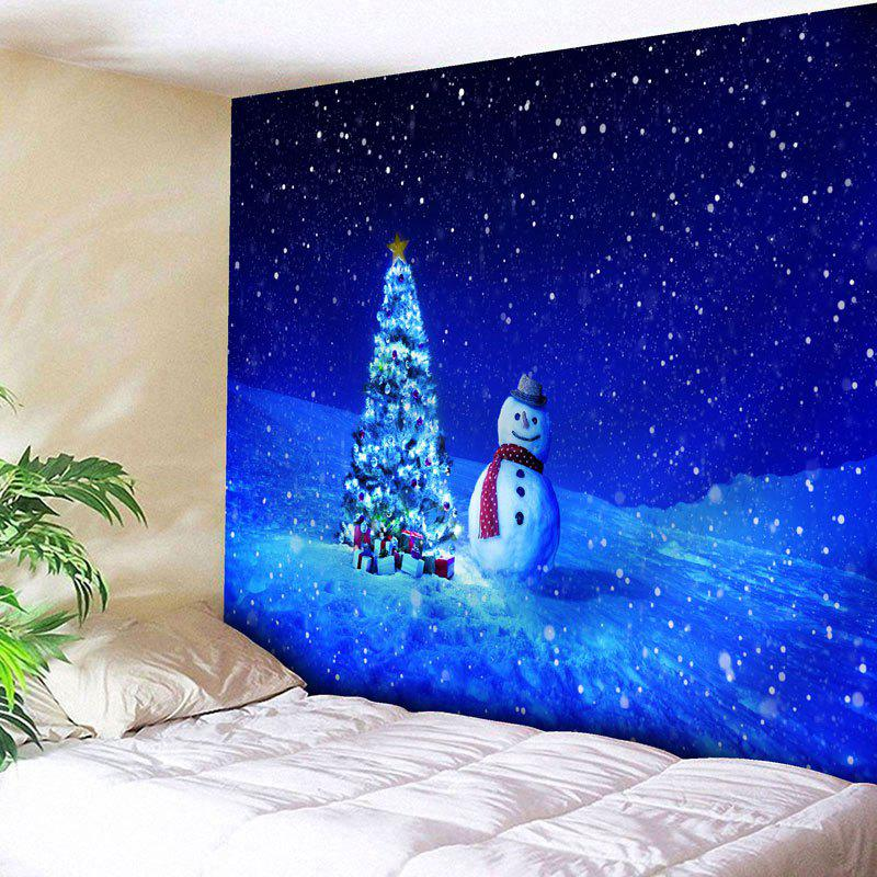 Snowman Christmas Tree Print Wall TapestryHOME<br><br>Size: W59 INCH * L59 INCH; Color: BLUE; Style: Festival; Theme: Christmas; Material: Nylon,Polyester; Feature: Removable,Washable; Shape/Pattern: Snowman,Tree; Weight: 0.2000kg; Package Contents: 1 x Tapestry;