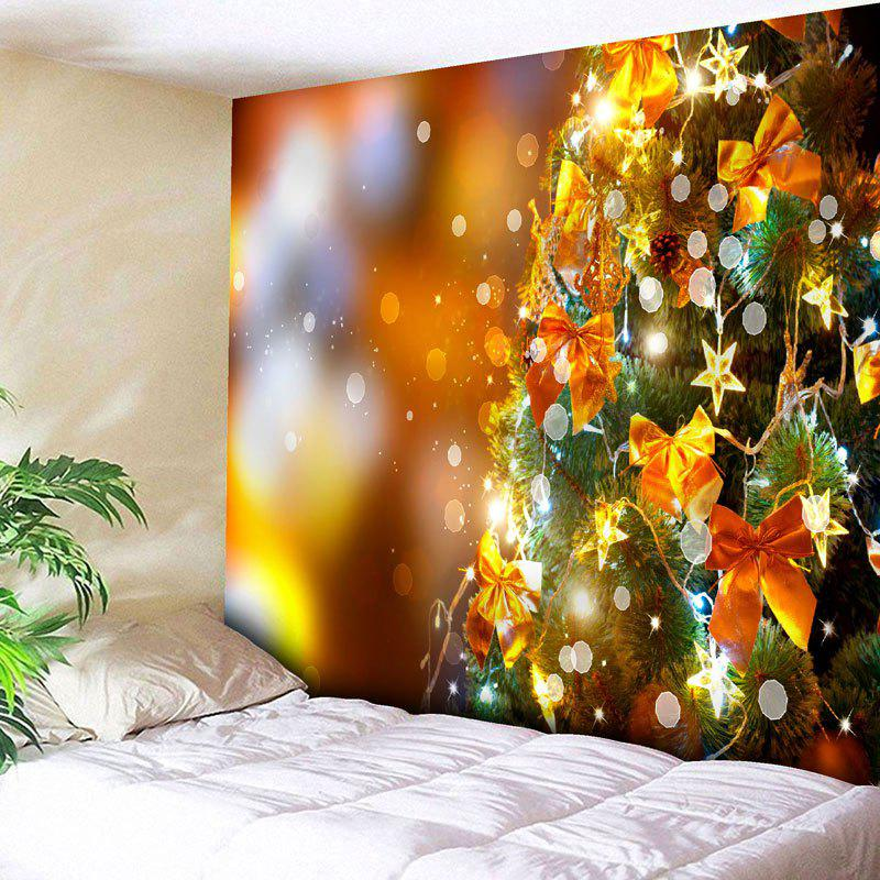 Christmas Tree Bowknot Star Decor Wall TapestryHOME<br><br>Size: W79 INCH * L71 INCH; Color: GOLDEN; Style: Festival; Theme: Christmas; Material: Nylon,Polyester; Feature: Removable,Washable; Shape/Pattern: Bowknot,Star,Tree; Weight: 0.3000kg; Package Contents: 1 x Tapestry;