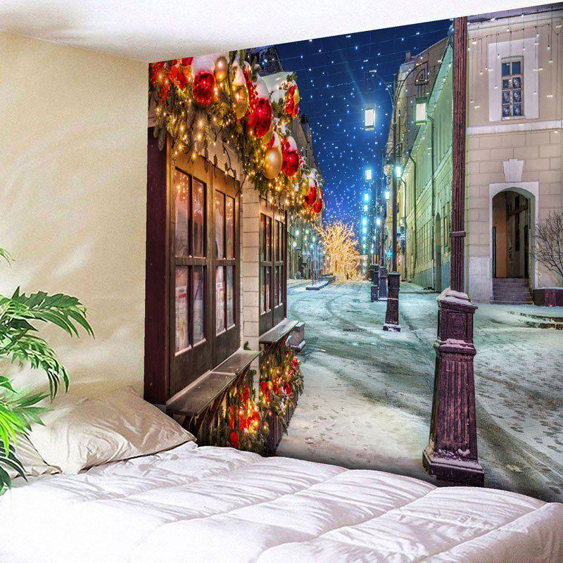 Christmas Street Print Wall Decor TapestryHOME<br><br>Size: W91 INCH * L71 INCH; Color: COLORMIX; Style: Festival; Theme: Christmas; Material: Nylon,Polyester; Feature: Removable,Washable; Shape/Pattern: Buildings; Weight: 0.3750kg; Package Contents: 1 x Tapestry;