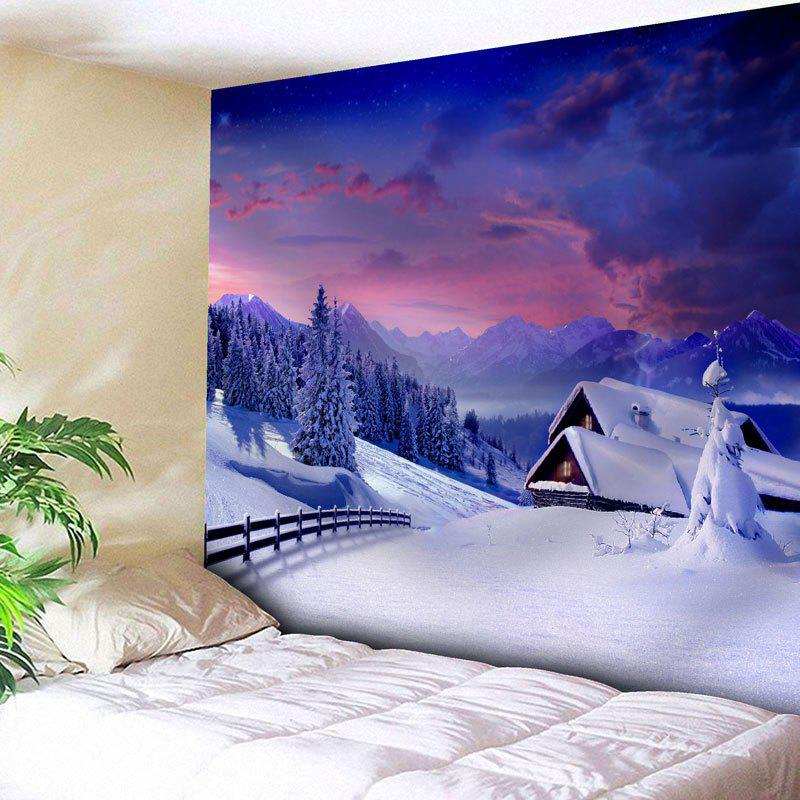 Christmas Snow Scenery Pattern Wall TapestryHOME<br><br>Size: W91 INCH * L71 INCH; Color: VIOLET BLUE; Style: Festival; Theme: Christmas; Material: Nylon,Polyester; Feature: Removable,Washable; Shape/Pattern: Snow,Tree; Weight: 0.3750kg; Package Contents: 1 x Tapestry;