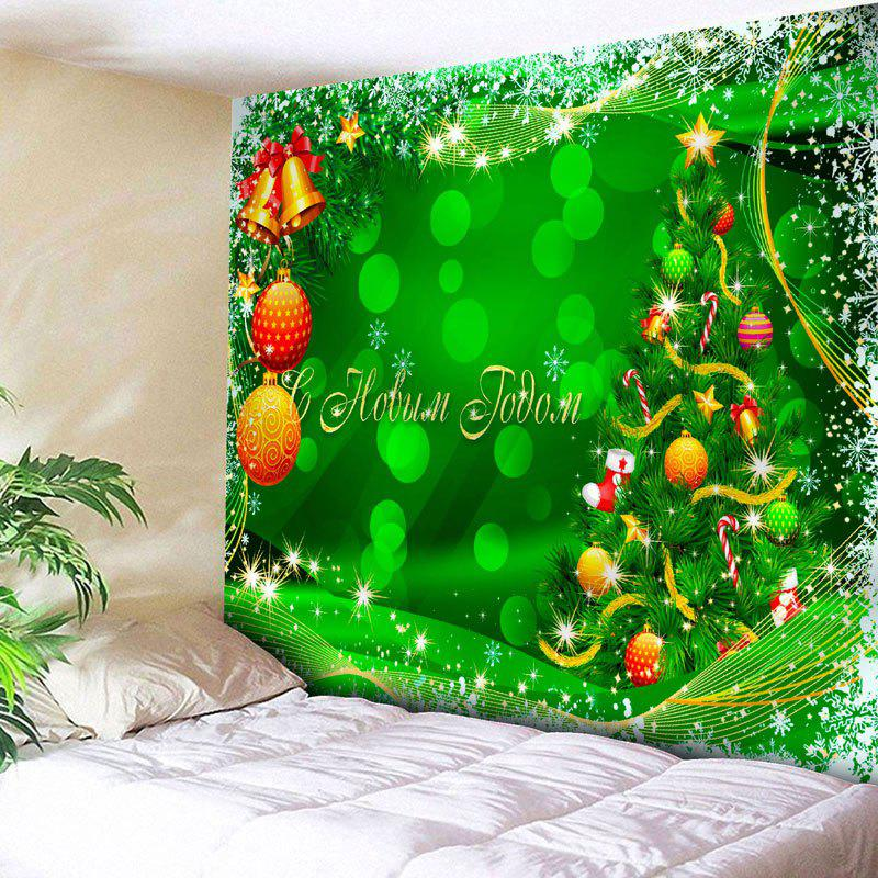 Wall Art Christmas Ball Tree TapestryHOME<br><br>Size: W79 INCH * L59 INCH; Color: GREEN; Style: Festival; Theme: Christmas; Material: Nylon,Polyester; Feature: Removable,Washable; Shape/Pattern: Ball,Tree; Weight: 0.2700kg; Package Contents: 1 x Tapestry;