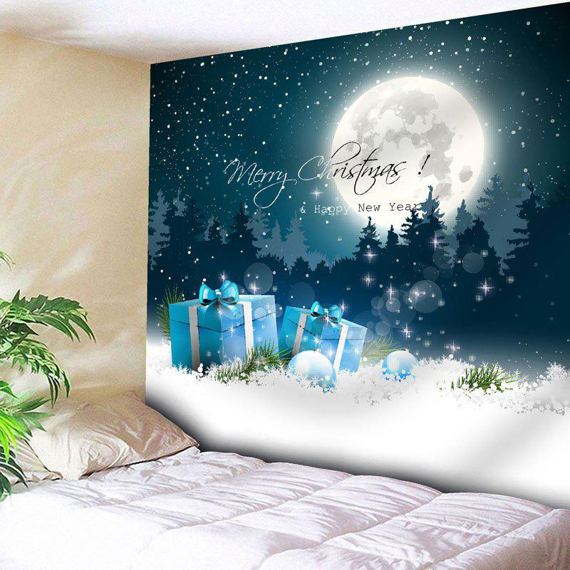 Christmas Moon Snow Night Wall TapestryHOME<br><br>Size: W59 INCH * L59 INCH; Color: BLUE; Style: Festival; Theme: Christmas; Material: Nylon,Polyester; Feature: Removable,Washable; Shape/Pattern: Letter,Moon,Tree; Weight: 0.2000kg; Package Contents: 1 x Tapestry;