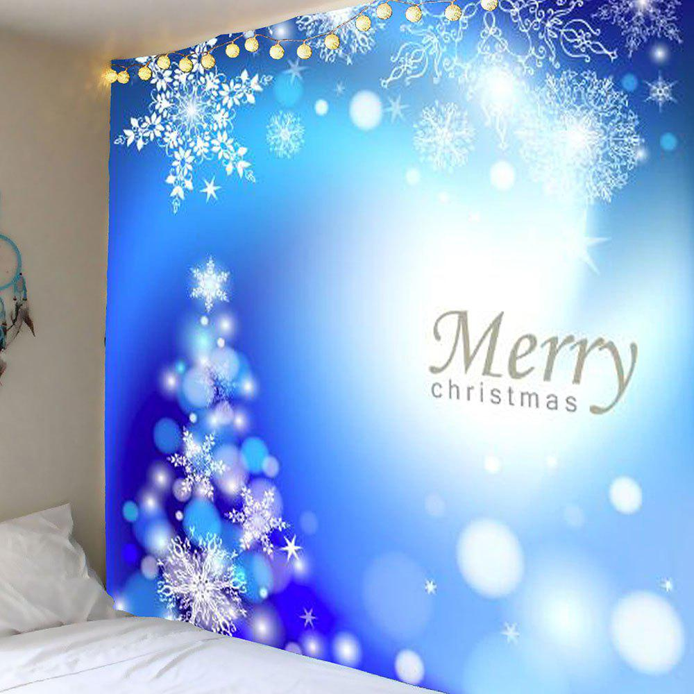 Snow Christmas Printed Wall Art TapestryHOME<br><br>Size: W79 INCH * L71 INCH; Color: BLUE; Style: Festival; Theme: Christmas; Material: Polyester; Feature: Removable,Washable; Shape/Pattern: Snow; Weight: 0.3900kg; Package Contents: 1 x Tapestry;