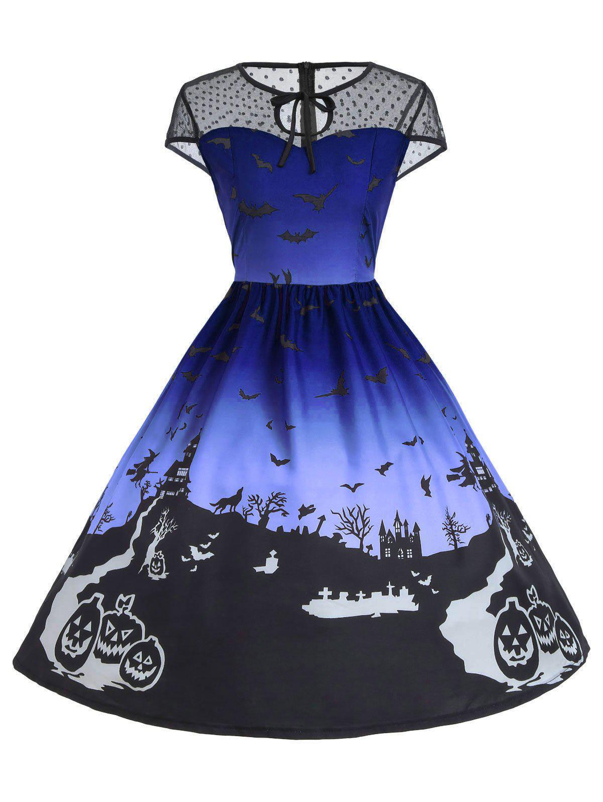 Latest Vintage Mesh Panel Halloween A Line Dress
