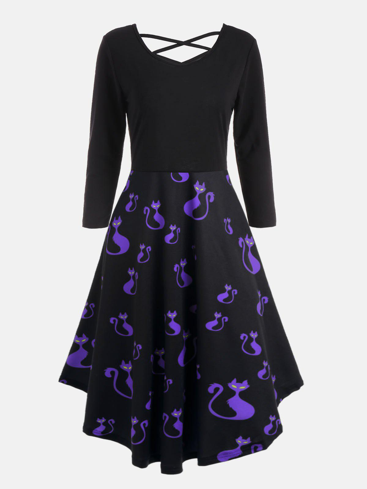 Plus Size Halloween Pumpkins Cats Print Flare DressWOMEN<br><br>Size: XL; Color: BLUE; Style: Casual; Material: Polyester,Spandex; Silhouette: A-Line; Dresses Length: Mid-Calf; Neckline: V-Neck; Sleeve Length: 3/4 Length Sleeves; Waist: High Waisted; Embellishment: Criss-Cross; Pattern Type: Print; Elasticity: Elastic; With Belt: No; Season: Fall,Spring; Weight: 0.4800kg; Package Contents: 1 x Dress;