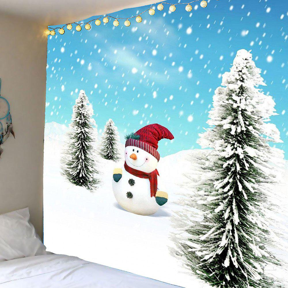 Christmas Snowman and Cedrus Pattern Wall Art TapestryHOME<br><br>Size: W59 INCH * L51 INCH; Color: BLUE AND WHITE; Style: Festival; Theme: Christmas; Material: Polyester; Feature: Removable,Washable; Shape/Pattern: Snow,Snowman; Weight: 0.2100kg; Package Contents: 1 x Tapestry;