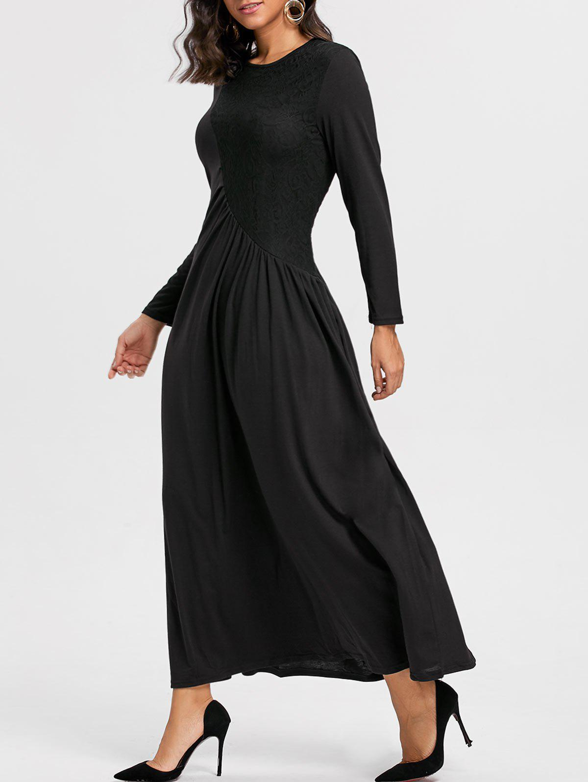 Long Sleeve Ruched Lace Insert Maxi DressWOMEN<br><br>Size: XL; Color: BLACK; Style: Brief; Material: Cotton,Polyester; Silhouette: A-Line; Dresses Length: Floor-Length; Neckline: Round Collar; Sleeve Length: Long Sleeves; Pattern Type: Patchwork,Solid Color; With Belt: No; Season: Fall,Spring; Weight: 0.5800kg; Package Contents: 1 x Dress;