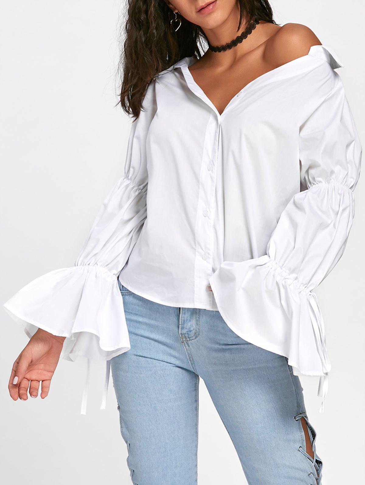 Convertible Oversized Bell Sleeve ShirtWOMEN<br><br>Size: M; Color: WHITE; Style: Fashion; Material: Cotton,Polyester; Shirt Length: Regular; Sleeve Length: Full; Sleeve Type: Flare Sleeve; Collar: Convertible Collar; Pattern Type: Solid; Season: Fall,Spring; Weight: 0.2800kg; Package Contents: 1 x Shirt;