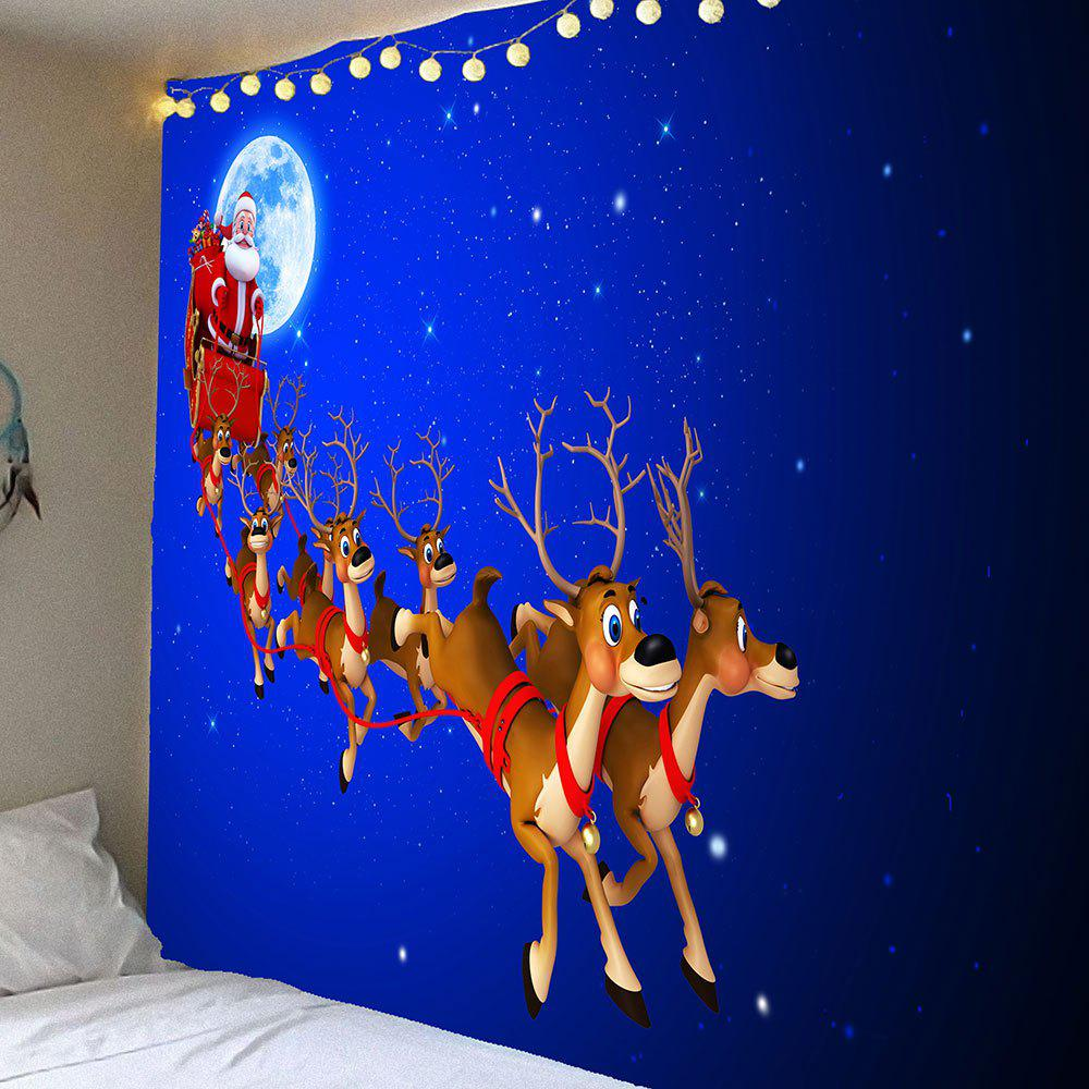 Christmas Elk Wagon Pattern Waterproof Wall Art TapestryHOME<br><br>Size: W79 INCH * L71 INCH; Color: BLUE; Style: Festival; Theme: Christmas; Material: Velvet; Feature: Removable,Washable,Waterproof; Shape/Pattern: Santa Claus; Weight: 0.3900kg; Package Contents: 1 x Tapestry;