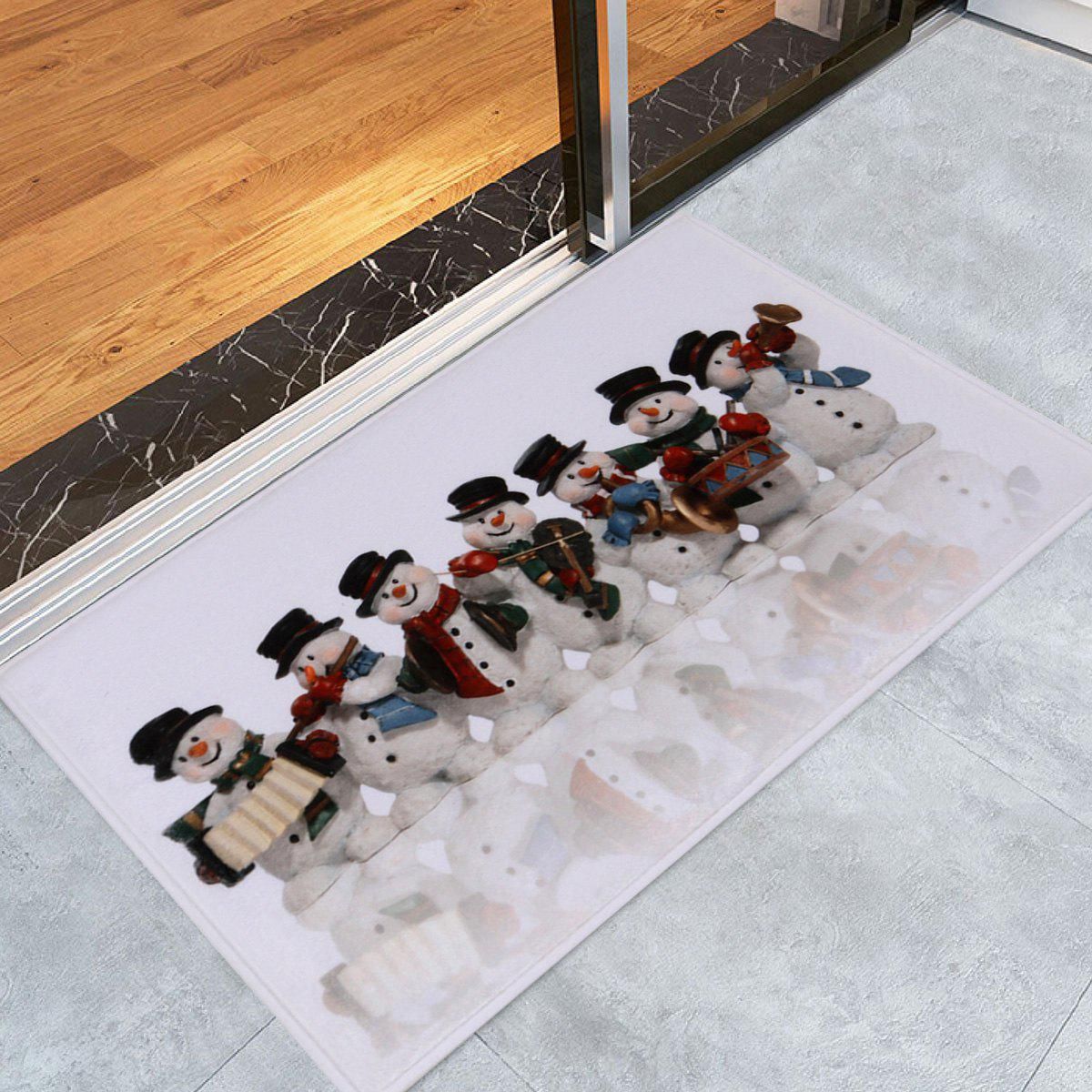 Christmas Snowman Band Antiskid Bath RugHOME<br><br>Size: W16 INCH * L24 INCH; Color: COLORMIX; Products Type: Bath rugs; Materials: Coral FLeece; Pattern: Snowman; Style: Festival; Shape: Rectangular; Package Contents: 1 x Rug;