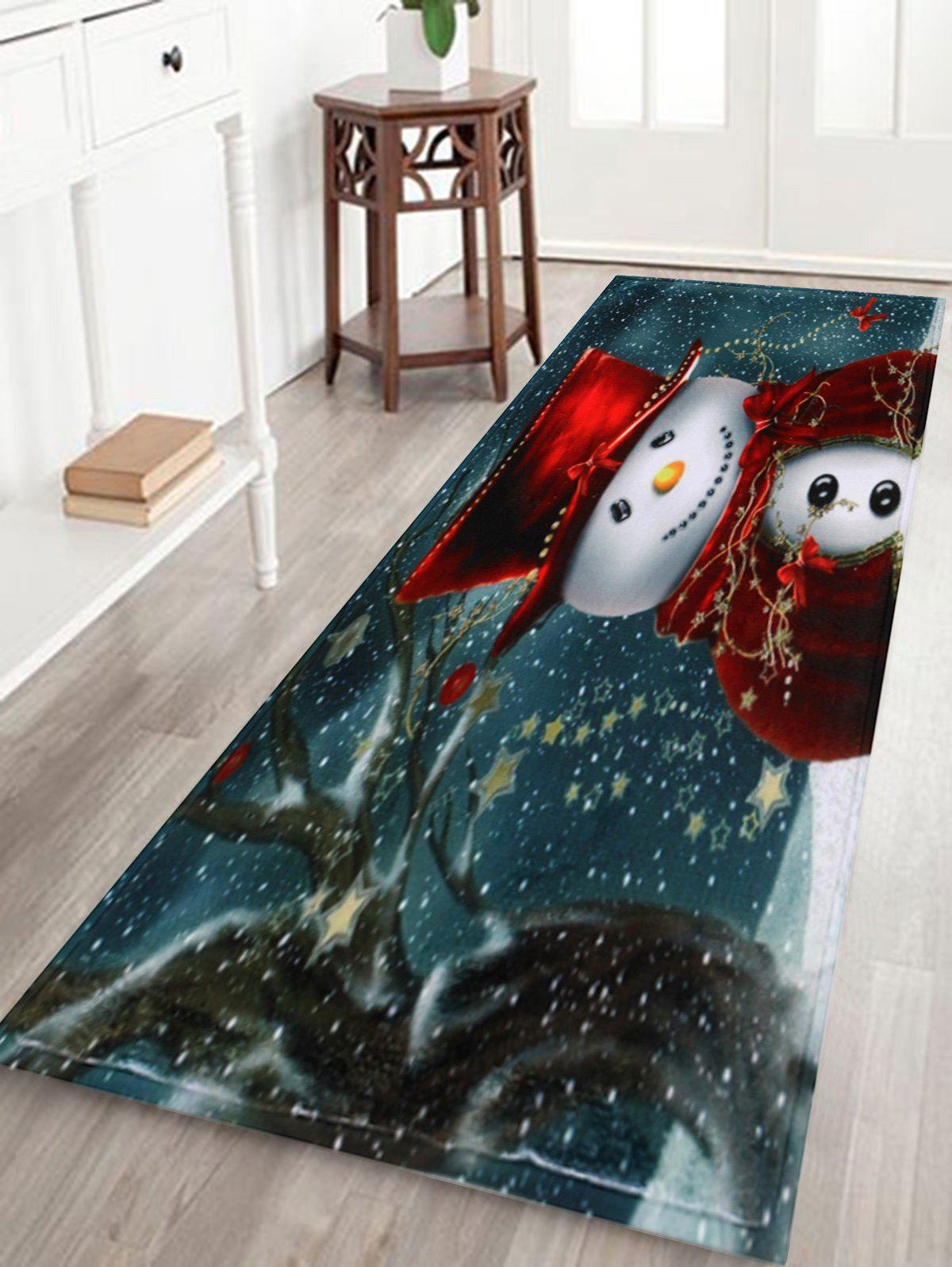 Christmas Snowman Print Skidproof Bath RugHOME<br><br>Size: W16 INCH * L47 INCH; Color: COLORMIX; Products Type: Bath rugs; Materials: Coral FLeece; Pattern: Snowman; Style: Festival; Shape: Rectangular; Package Contents: 1 x Rug;