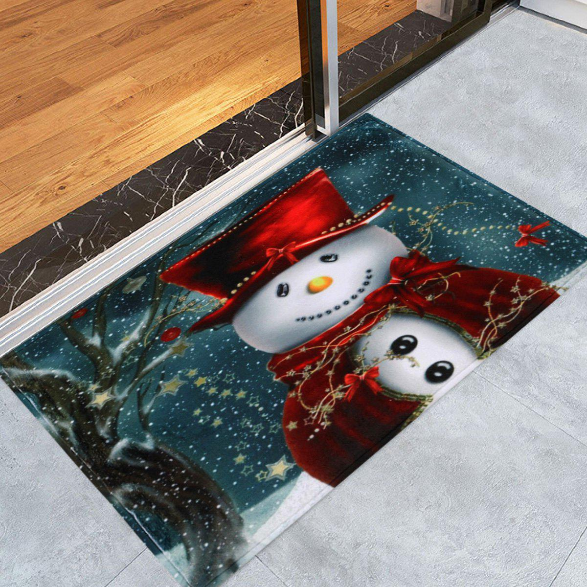 Christmas Snowman Print Skidproof Bath RugHOME<br><br>Size: W16 INCH * L24 INCH; Color: BLUE; Products Type: Bath rugs; Materials: Coral FLeece; Pattern: Snowman; Style: Festival; Shape: Rectangular; Package Contents: 1 x Rug;
