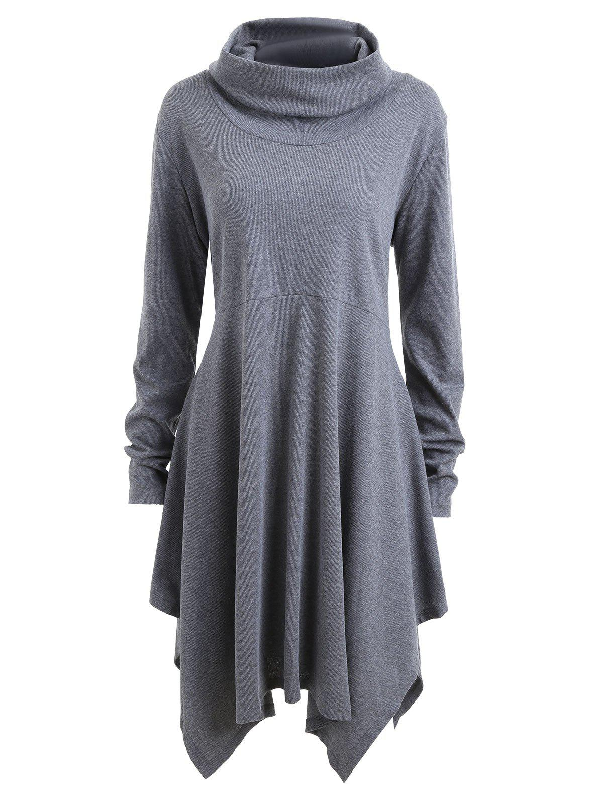 Plus Size Long Sleeve Funnel Neck Swing DressWOMEN<br><br>Size: 2XL; Color: GRAY; Style: Casual; Material: Polyester; Silhouette: A-Line; Dresses Length: Knee-Length; Neckline: Funnel Collar; Sleeve Length: Long Sleeves; Pattern Type: Solid,Solid Color; With Belt: No; Season: Fall,Winter; Weight: 0.5000kg; Package Contents: 1 x Dress;