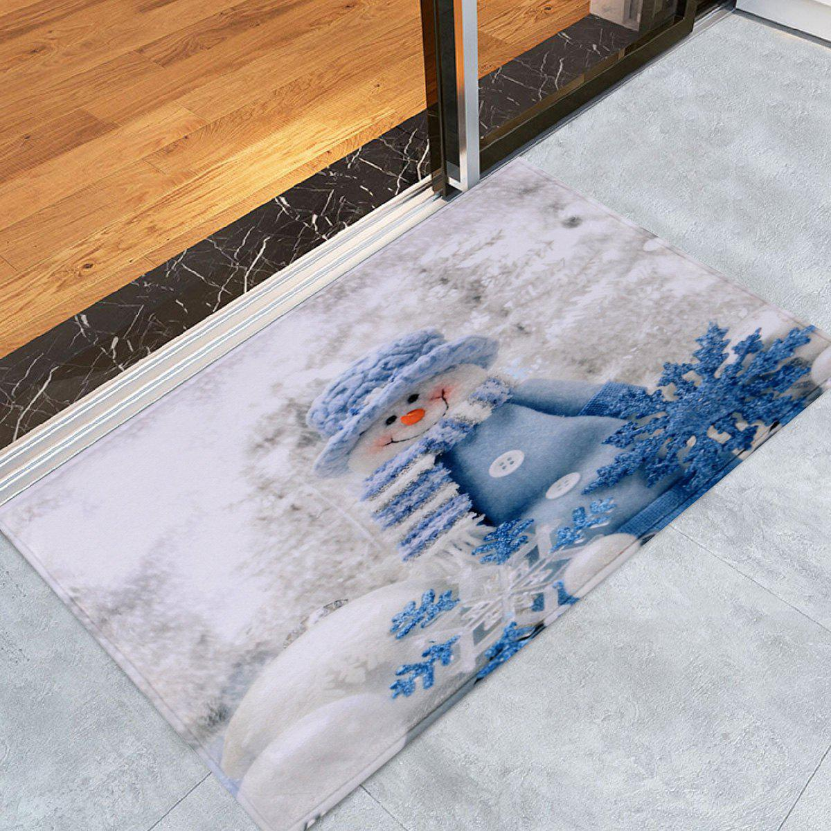 Christmas Snowman Print Antiskid Bath RugHOME<br><br>Size: W24 INCH * L35.5 INCH; Color: WHITE; Products Type: Bath rugs; Materials: Coral FLeece; Pattern: Snowman; Style: Festival; Shape: Rectangular; Package Contents: 1 x Rug;