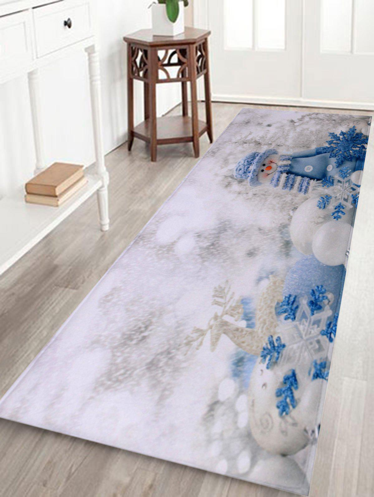 Christmas Snowman Print Antiskid Bath RugHOME<br><br>Size: W24 INCH * L71 INCH; Color: WHITE; Products Type: Bath rugs; Materials: Coral FLeece; Pattern: Snowman; Style: Festival; Shape: Rectangular; Package Contents: 1 x Rug;