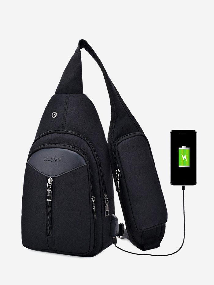 Chest Bag With USB Charging PortSHOES &amp; BAGS<br><br>Color: BLACK; Gender: For Men; Pattern Type: Solid; Closure Type: Zipper; Main Material: Polyester; Length: 19CM; Width: 7CM; Height: 33CM; Weight: 1.2000kg; Package Contents: 1 x Chest Bag;