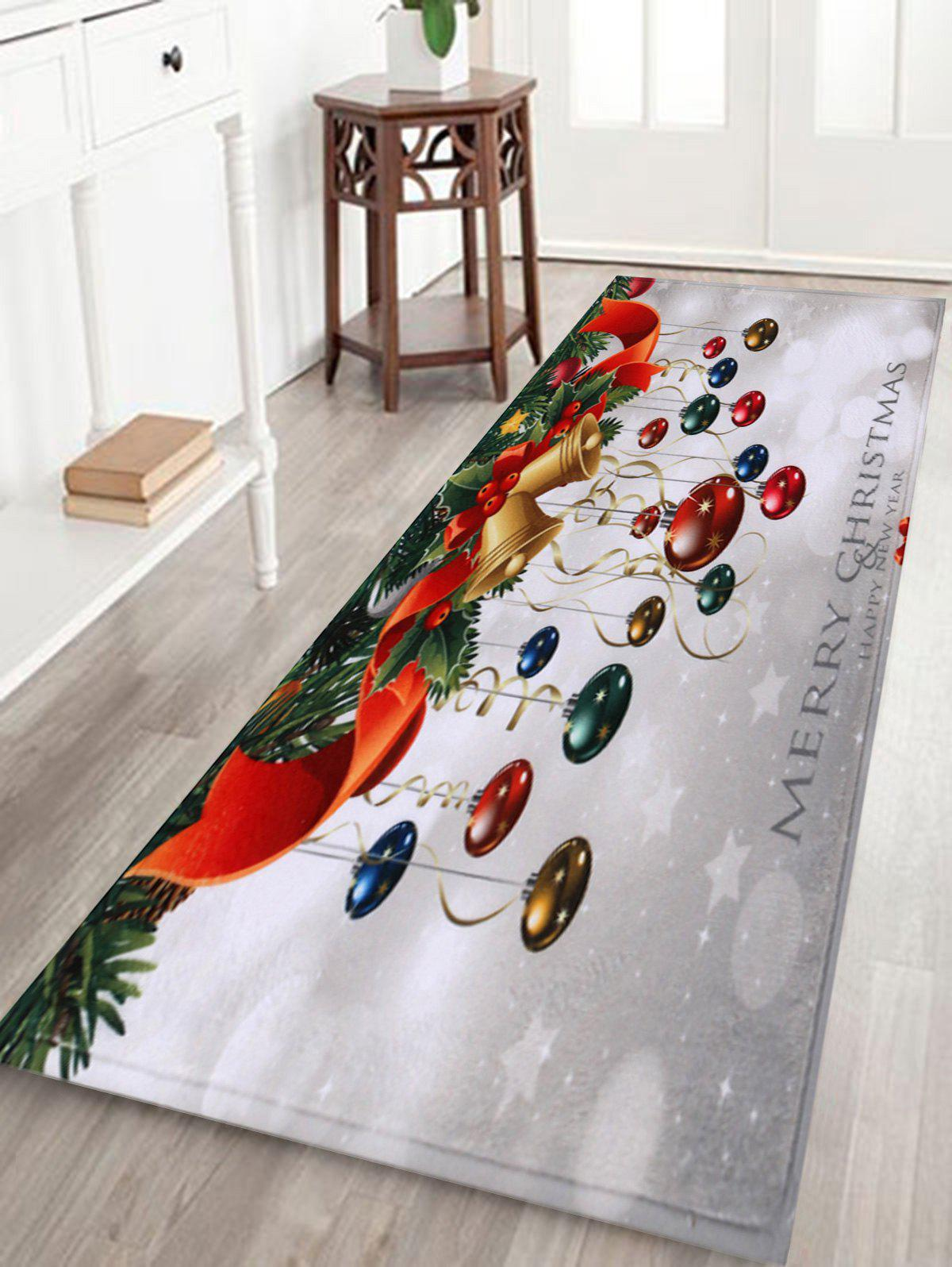 Bathroom Antislip Christmas Ball Area RugHOME<br><br>Size: W24 INCH * L71 INCH; Color: COLORMIX; Products Type: Bath rugs; Materials: Coral FLeece; Pattern: Ball,Plant; Style: Festival; Shape: Rectangular; Package Contents: 1 x Rug;