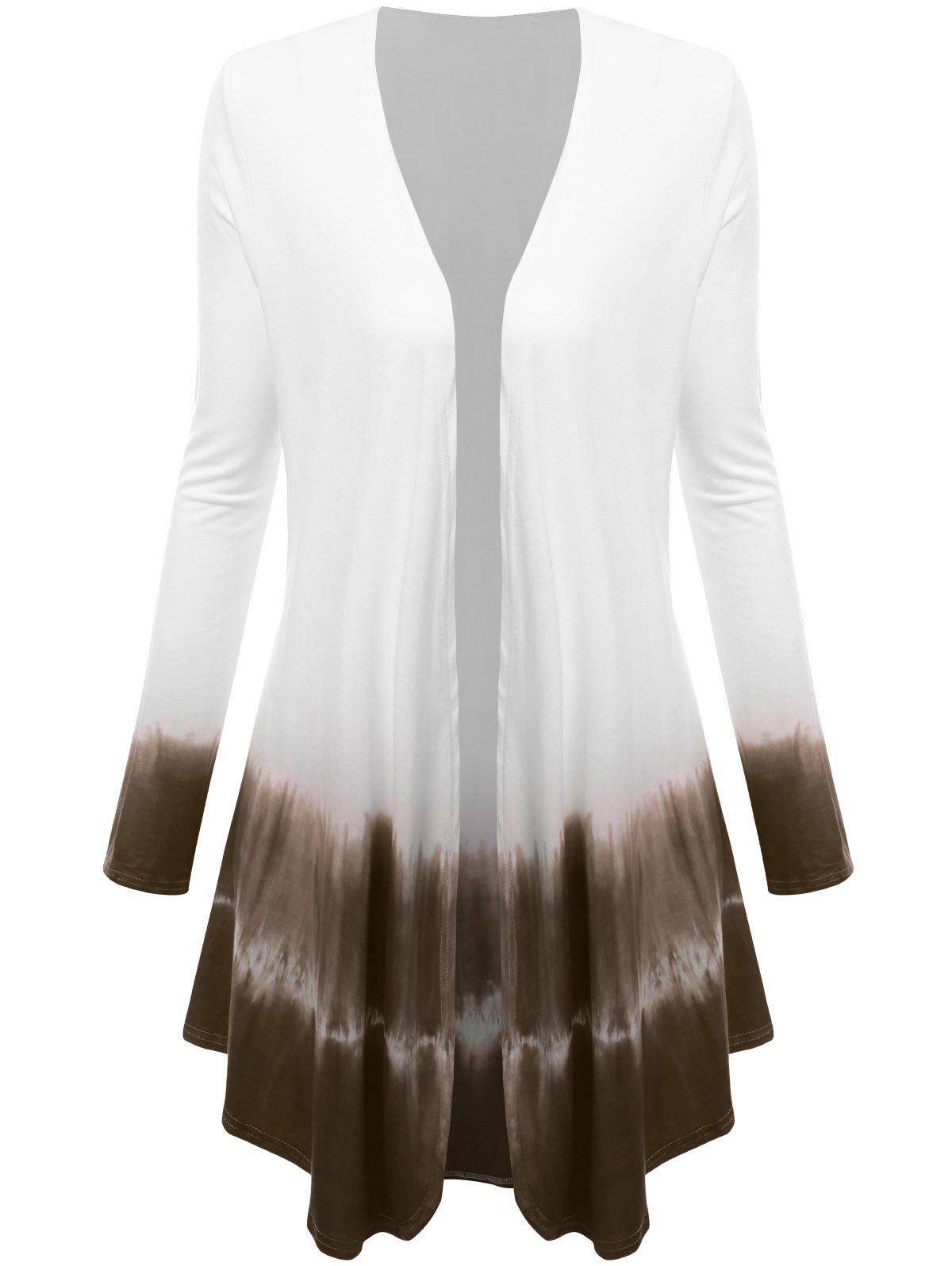Plus Size Open Front Ombre Duster CoatWOMEN<br><br>Size: 3XL; Color: TAUPE; Clothes Type: Others; Material: Cotton,Polyester; Type: Slim; Shirt Length: Long; Sleeve Length: Full; Collar: Collarless; Pattern Type: Others; Style: Fashion; Season: Fall; Weight: 0.3500kg; Package Contents: 1 x Coat;