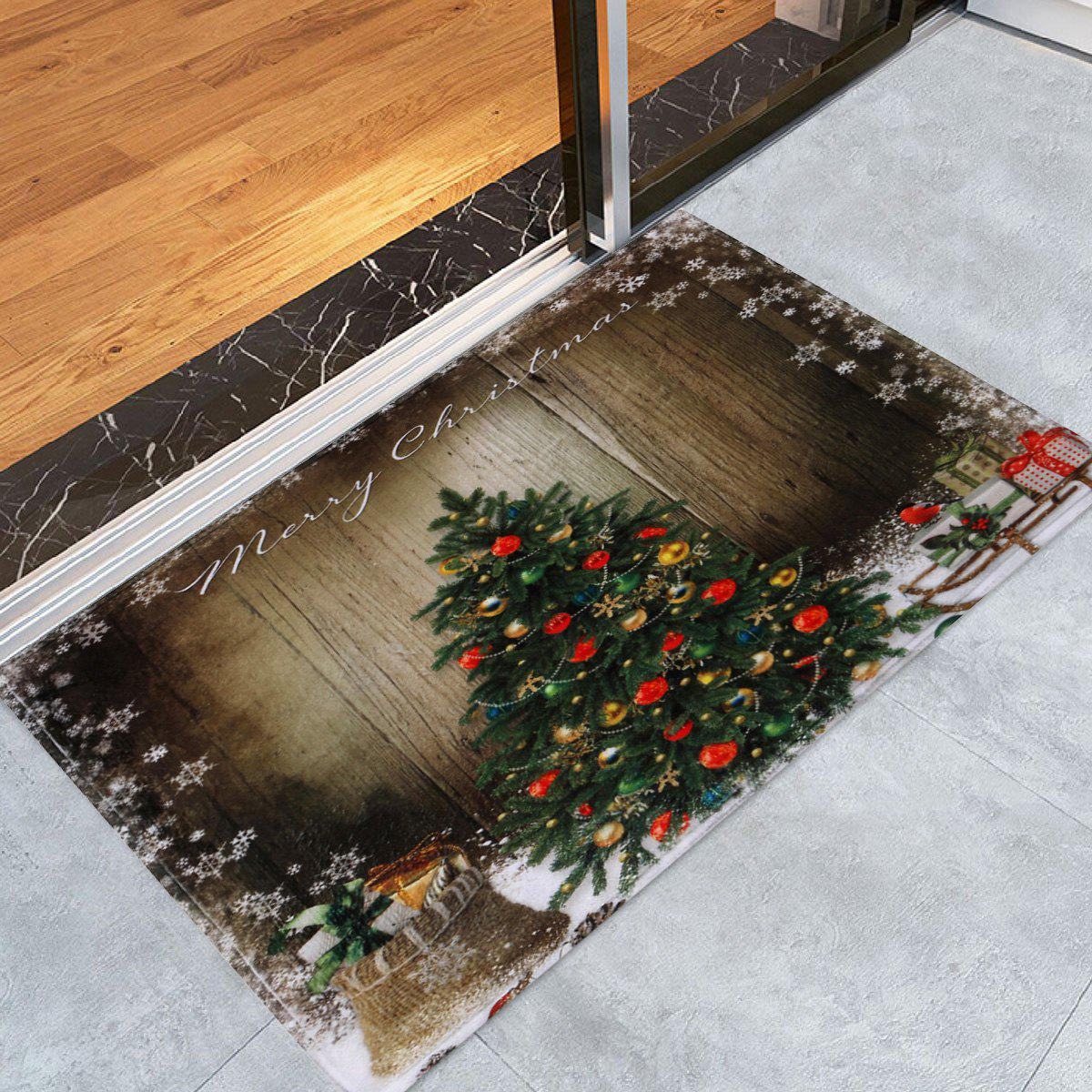 Bathroom Antiskid Christmas Tree Area RugHOME<br><br>Size: W24 INCH * L35.5 INCH; Color: BROWN; Products Type: Bath rugs; Materials: Coral FLeece; Pattern: Plant; Style: Festival; Shape: Rectangular; Package Contents: 1 x Rug;