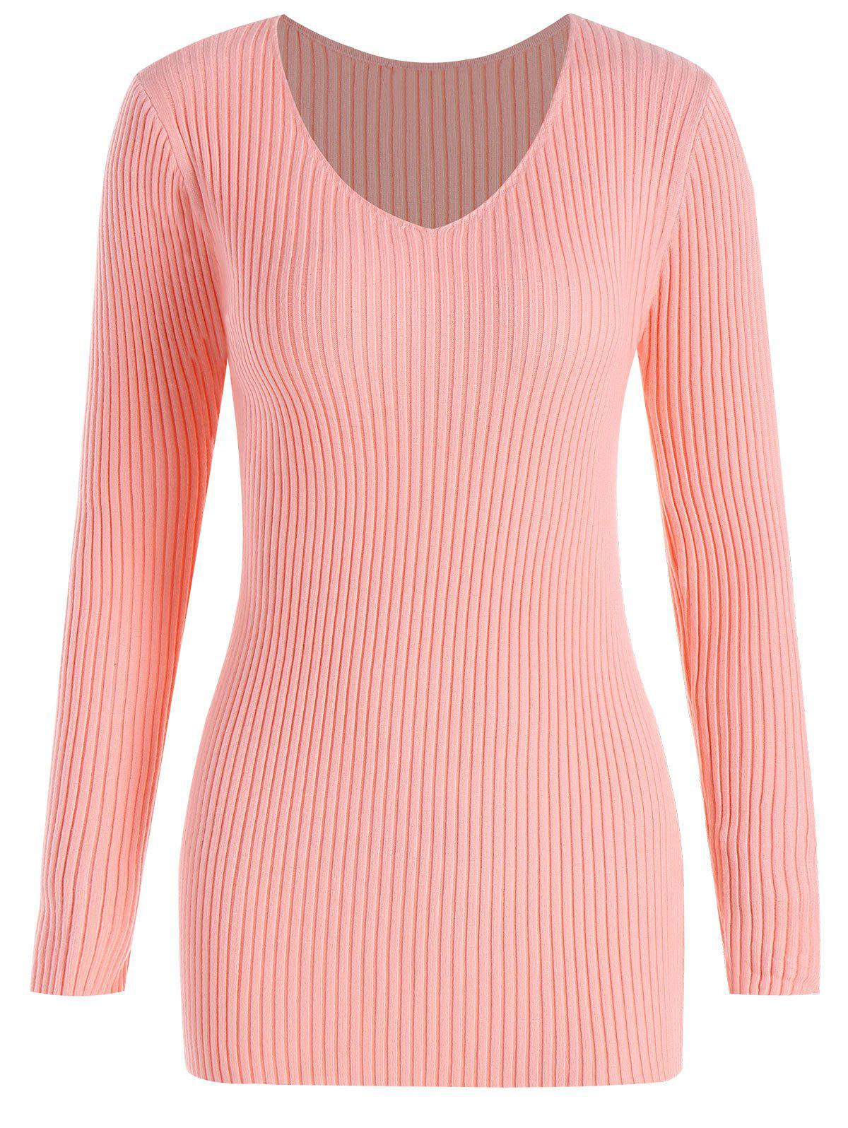 Store Plus Size Ribbed V Neck Sweater
