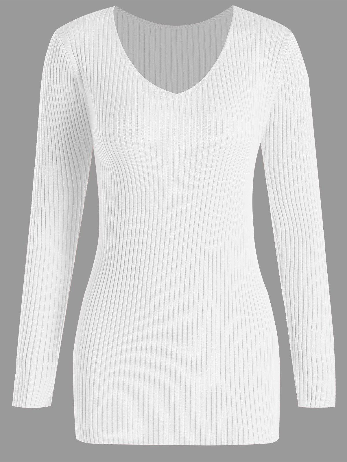 Shop Plus Size Ribbed V Neck Sweater
