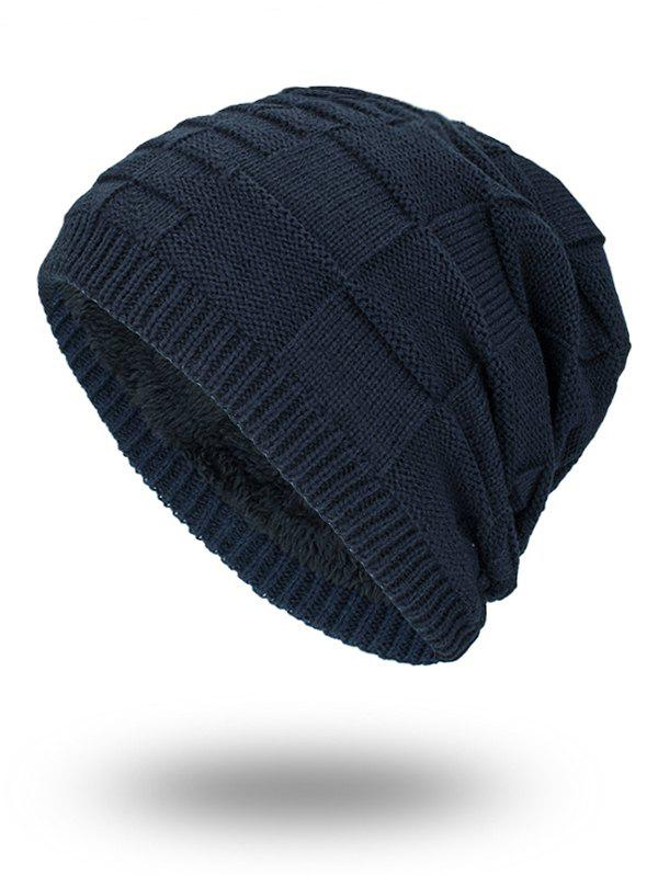 Shops Velvet Stripy Thicken Plaid Knitted Beanie
