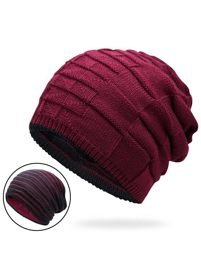 Warm Color Block Reversible Knit HatACCESSORIES<br><br>Color: WINE RED; Hat Type: Skullies Beanie; Group: Adult; Gender: Unisex; Style: Fashion; Pattern Type: Others; Material: Acrylic; Circumference (CM): 57CM; Weight: 0.1400kg; Package Contents: 1 x Hat;