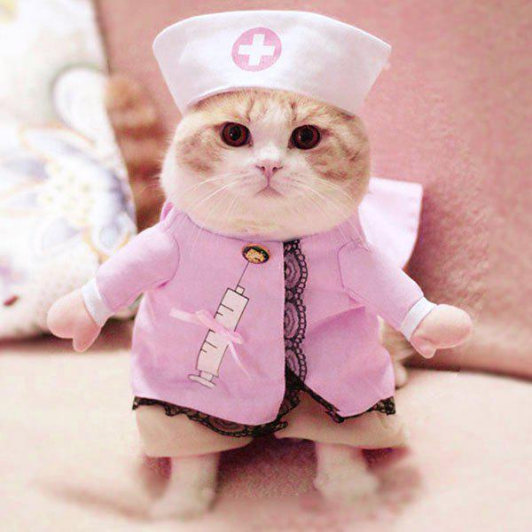Pet Dog Cat Nurse Costume Cosplay Change ClothesHOME<br><br>Size: M; Color: PINK; Type: Jumpsuits &amp; Rompers; Material: Polyester; Season: Fall,Spring,Summer,Winter; For: Dogs/Cats; Available Size: S M L XL; Weight: 0.4410kg; Package Contents: 1 x Pet Romper;