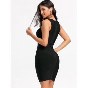 Mesh Panel Cut Out Bandage Dress - BLACK L