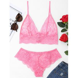 Scalloped Lace Up Bralette Set -