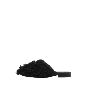 Flat Heel Furry Slippers - BLACK 40