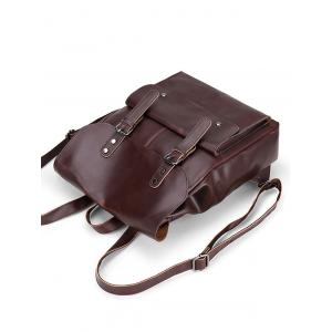 Stud Buckle Straps Faux Leather Backpack - BROWN