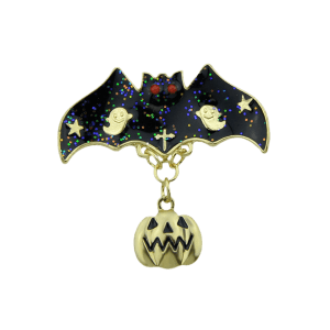 Halloween Pumpkin Bat Ghost Star Brooch - GOLDEN