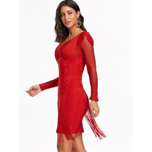 Fringe Mesh Long Sleeve Bandage Dress - RED M