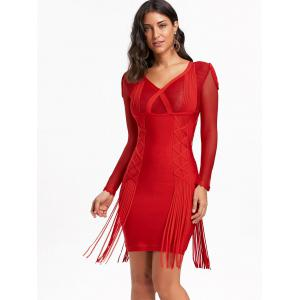 Fringe Mesh Long Sleeve Bandage Dress -
