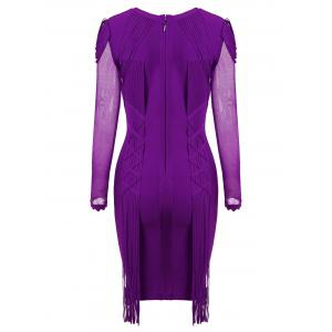 Fringe Mesh Long Sleeve Bandage Dress - PURPLE 2XL