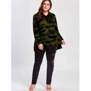 Plus Size Long High Low Camo Printed Hoodie -