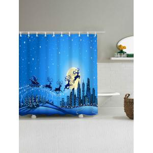 Waterproof Christmas Sled Moon Shower Curtain - BLUE W59 INCH * L71 INCH