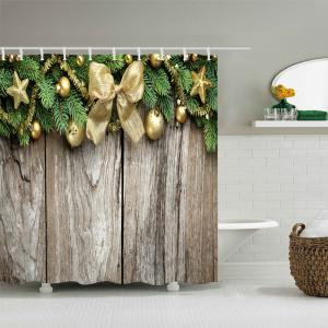 Christmas Wood Flooring Print Fabric Waterproof Bathroom Shower Curtain - GREEN W59 INCH * L71 INCH