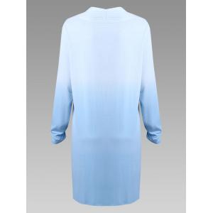 Sky Blue 3xl Plus Size Long Sleeve Open Front Ombre Duster ...