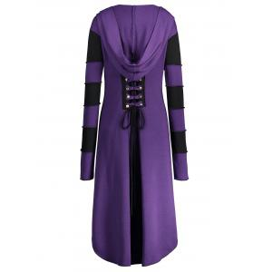 Hooded Plus Size Lace-up High Low  Coat - PURPLE XL